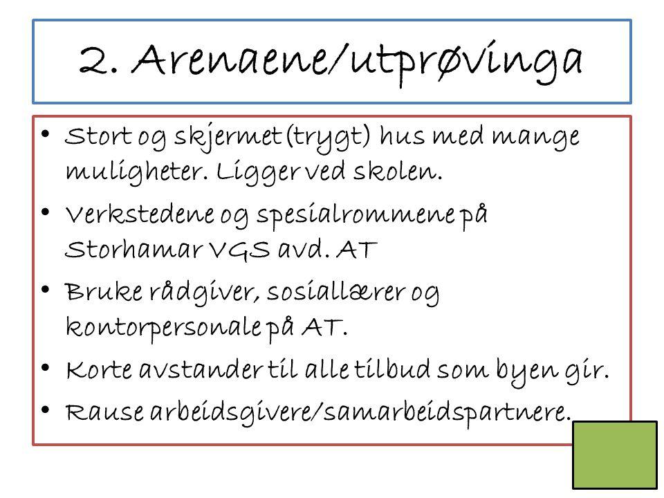 2. Arenaene/utprøvinga Stort og skjermet(trygt) hus med mange muligheter. Ligger ved skolen. Verkstedene og spesialrommene på Storhamar VGS avd. AT.