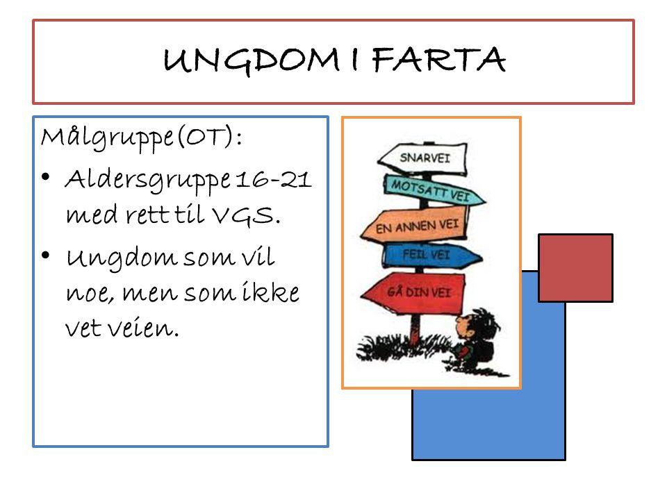 UNGDOM I FARTA Målgruppe(OT): Aldersgruppe 16-21 med rett til VGS.