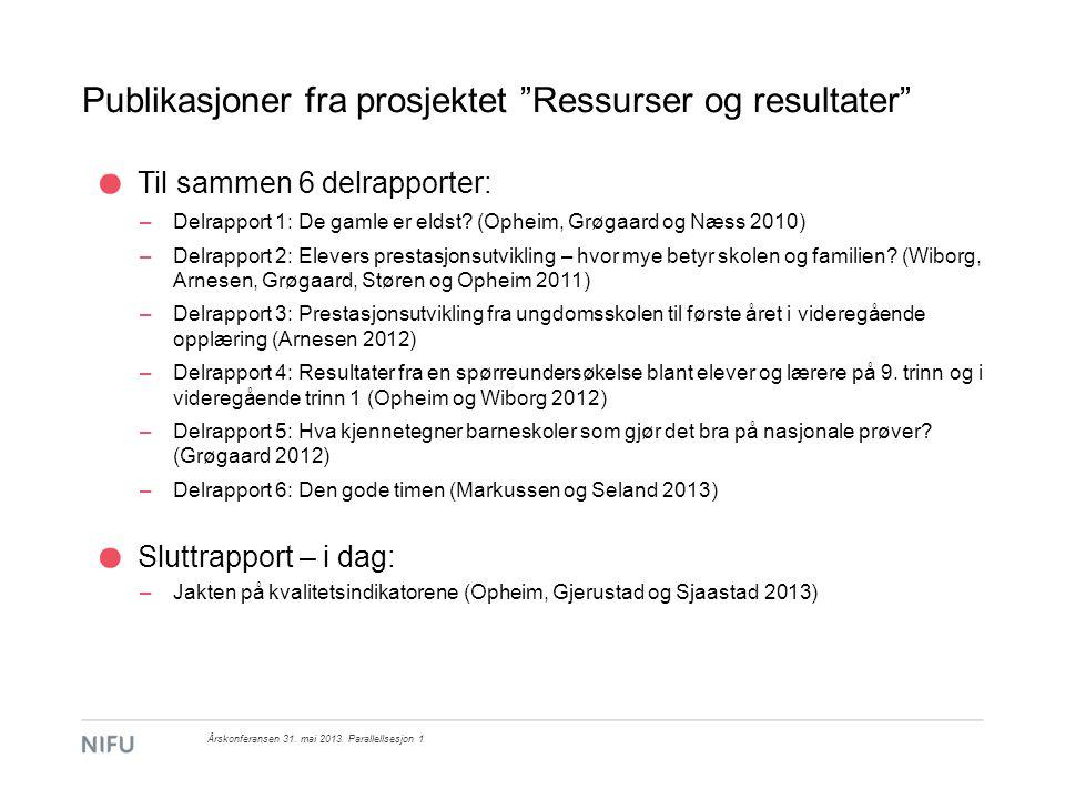 Publikasjoner fra prosjektet Ressurser og resultater