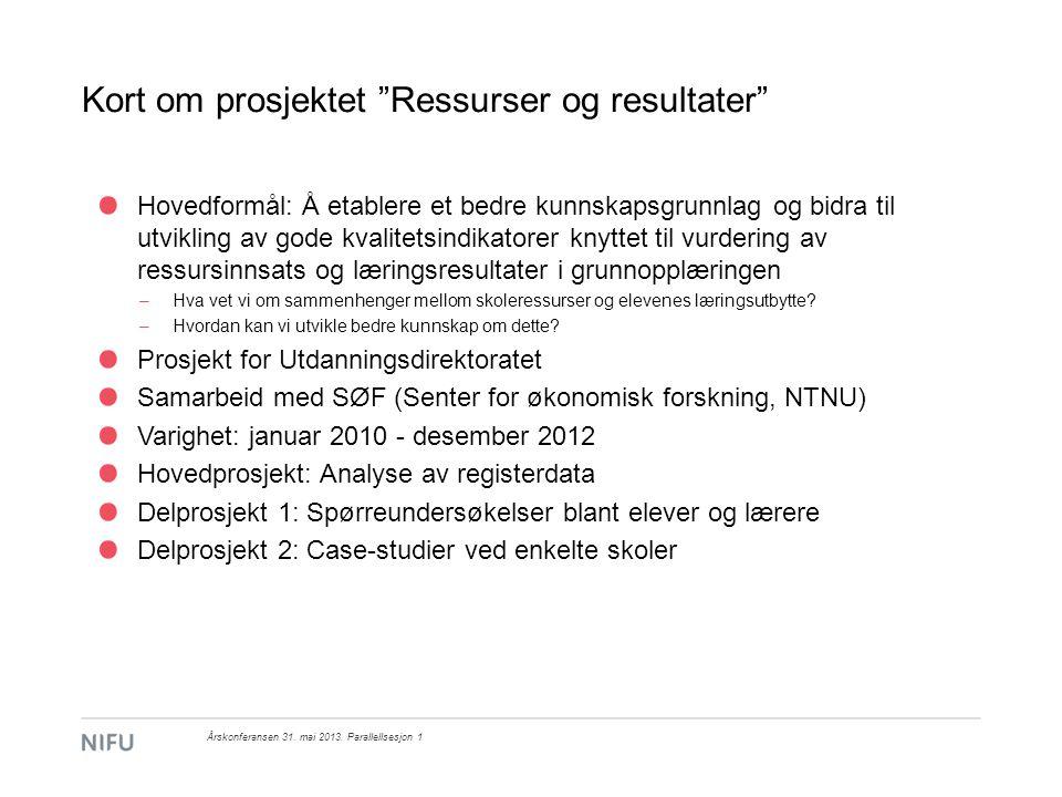 Kort om prosjektet Ressurser og resultater