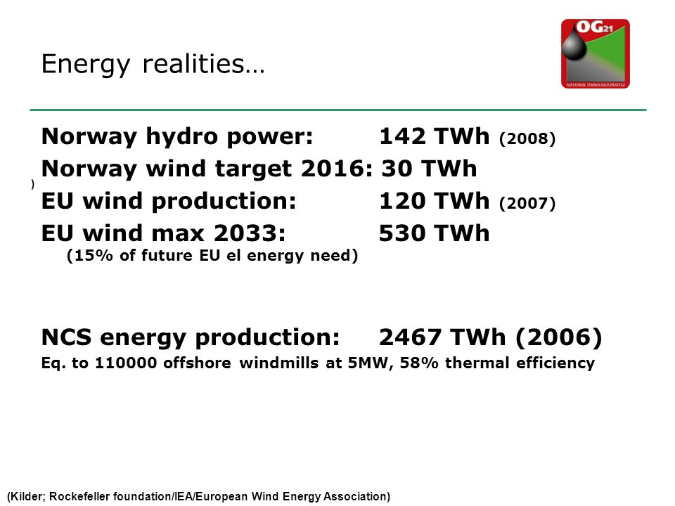 Energy realities… Norway hydro power: 142 TWh (2008)