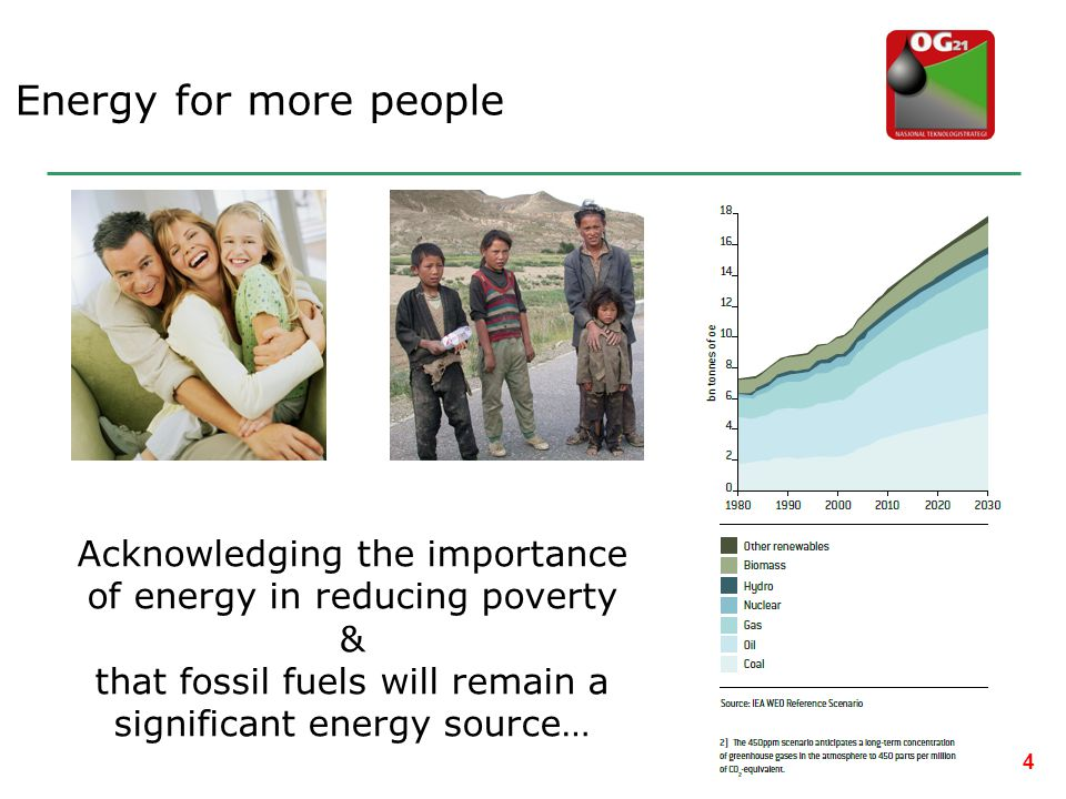 Energy for more people Acknowledging the importance of energy in reducing poverty. & that fossil fuels will remain a significant energy source…