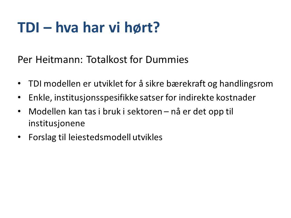 TDI – hva har vi hørt Per Heitmann: Totalkost for Dummies