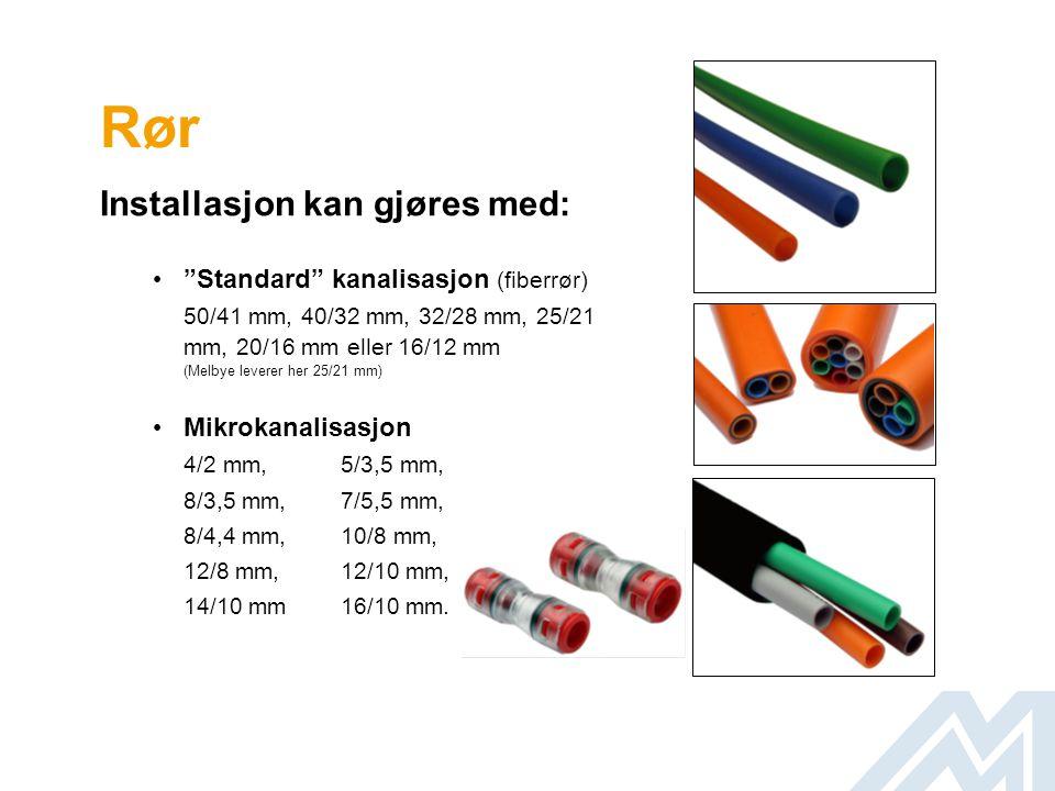 Rør Installasjon kan gjøres med: Standard kanalisasjon (fiberrør)