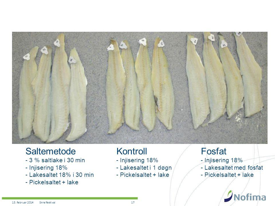 Saltemetode Kontroll Fosfat - 3 % saltlake i 30 min Injisering 18%
