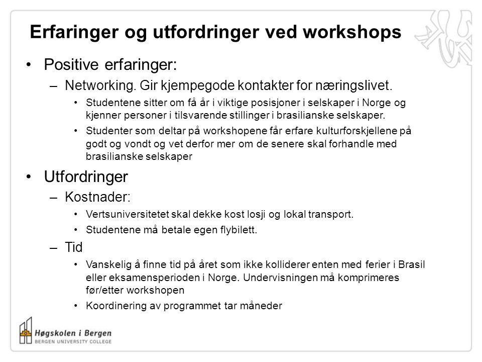 Erfaringer og utfordringer ved workshops