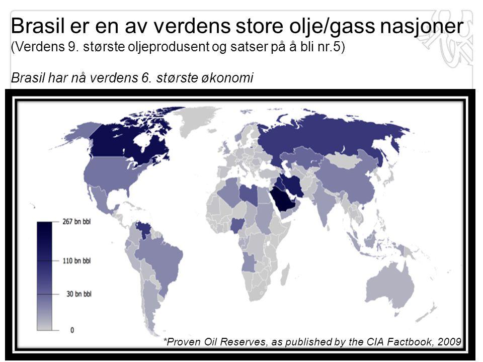 Brasil er en av verdens store olje/gass nasjoner (Verdens 9
