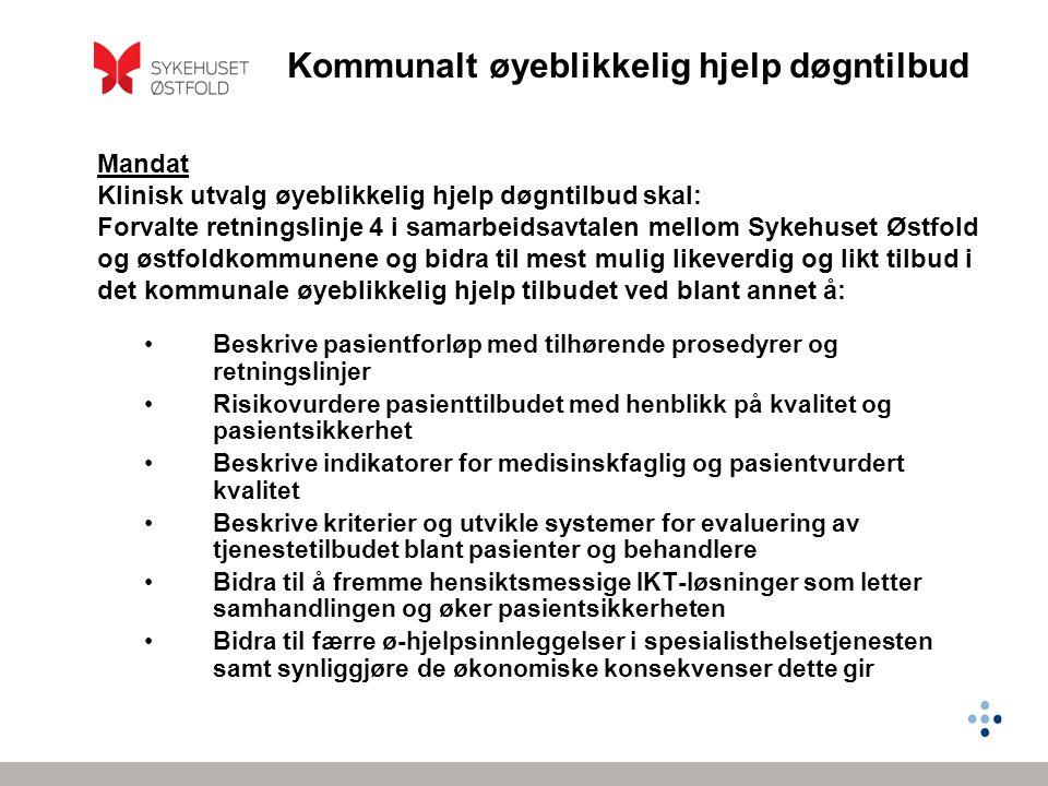 Mandat Klinisk utvalg øyeblikkelig hjelp døgntilbud skal: Forvalte retningslinje 4 i samarbeidsavtalen mellom Sykehuset Østfold og østfoldkommunene og bidra til mest mulig likeverdig og likt tilbud i det kommunale øyeblikkelig hjelp tilbudet ved blant annet å: