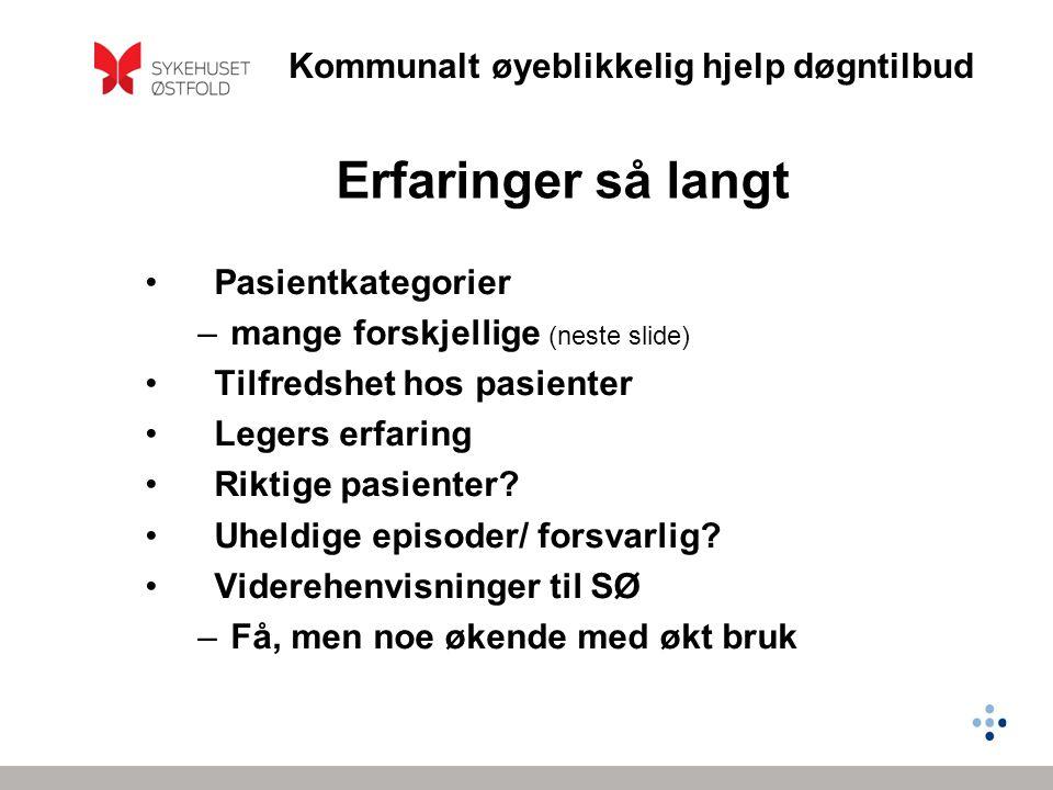Erfaringer så langt Pasientkategorier mange forskjellige (neste slide)