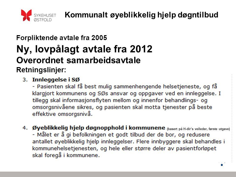 Forpliktende avtale fra 2005 Ny, lovpålagt avtale fra 2012 Overordnet samarbeidsavtale Retningslinjer: