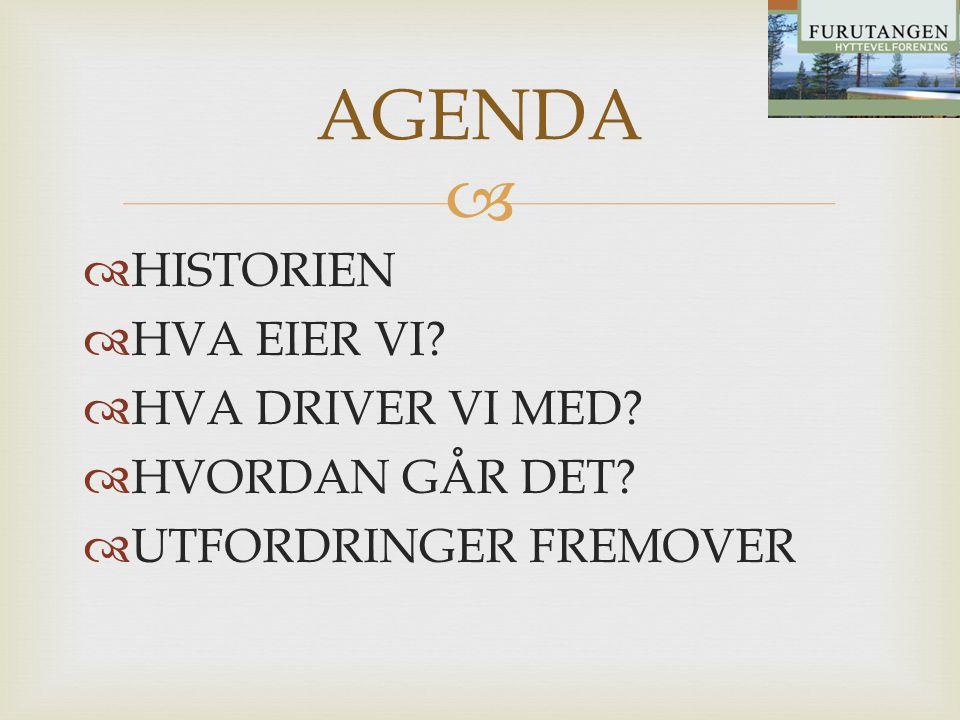 AGENDA HISTORIEN HVA EIER VI HVA DRIVER VI MED HVORDAN GÅR DET