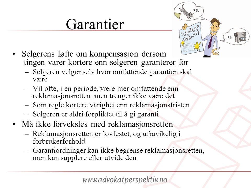 Garantier Selgerens løfte om kompensasjon dersom tingen varer kortere enn selgeren garanterer for.