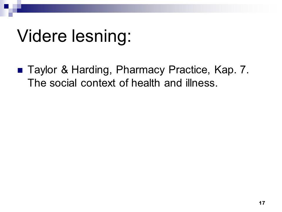 Videre lesning: Taylor & Harding, Pharmacy Practice, Kap.