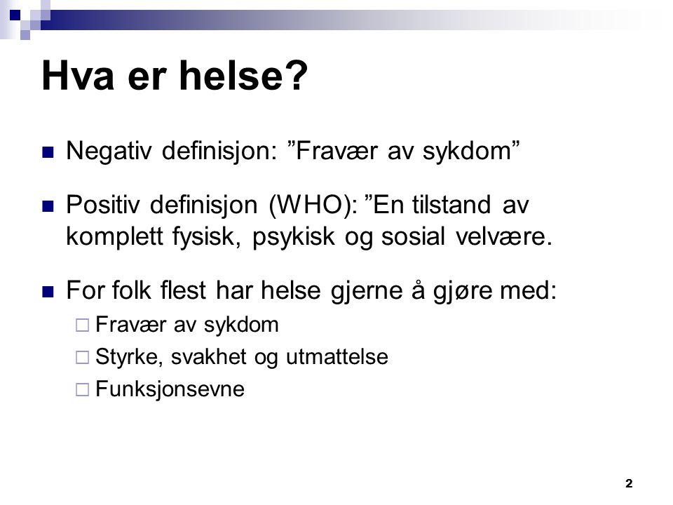 Hva er helse Negativ definisjon: Fravær av sykdom