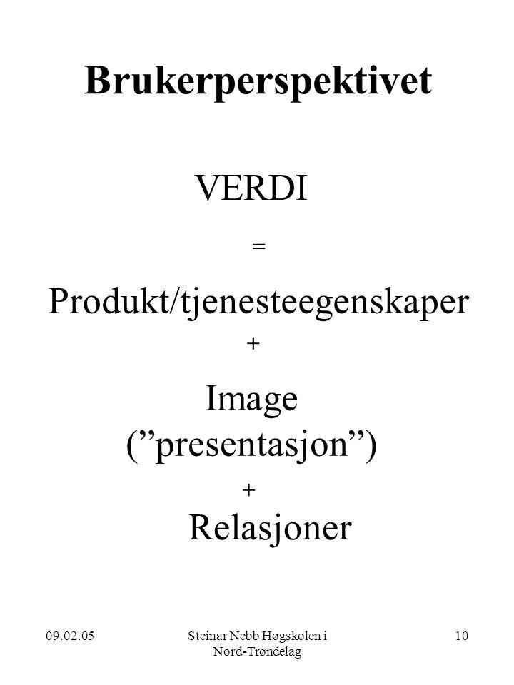 Brukerperspektivet VERDI Produkt/tjenesteegenskaper