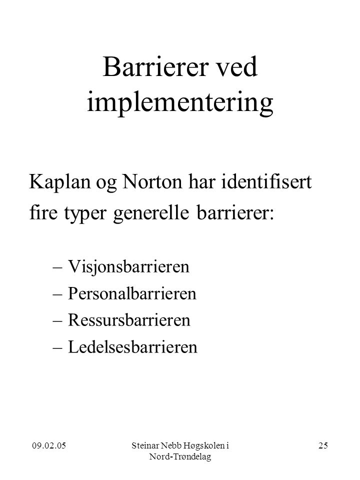 Barrierer ved implementering
