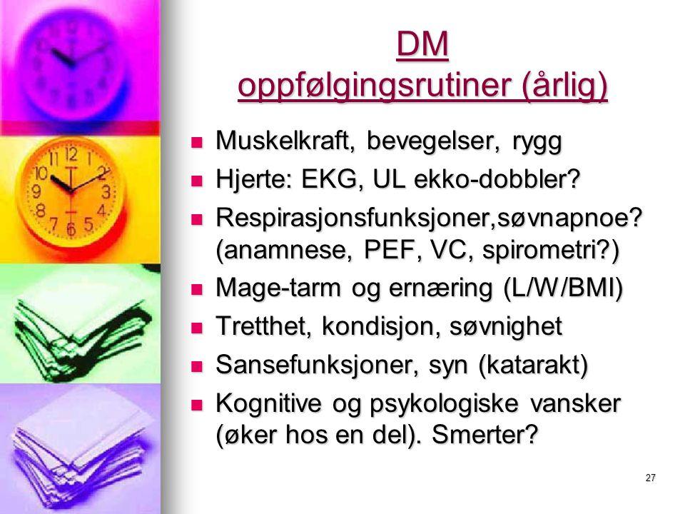 DM oppfølgingsrutiner (årlig)