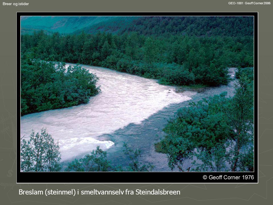 Breslam (steinmel) i smeltvannselv fra Steindalsbreen