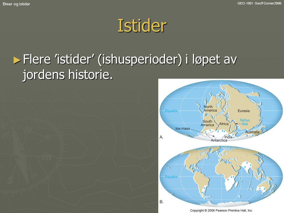 Istider Flere 'istider' (ishusperioder) i løpet av jordens historie.