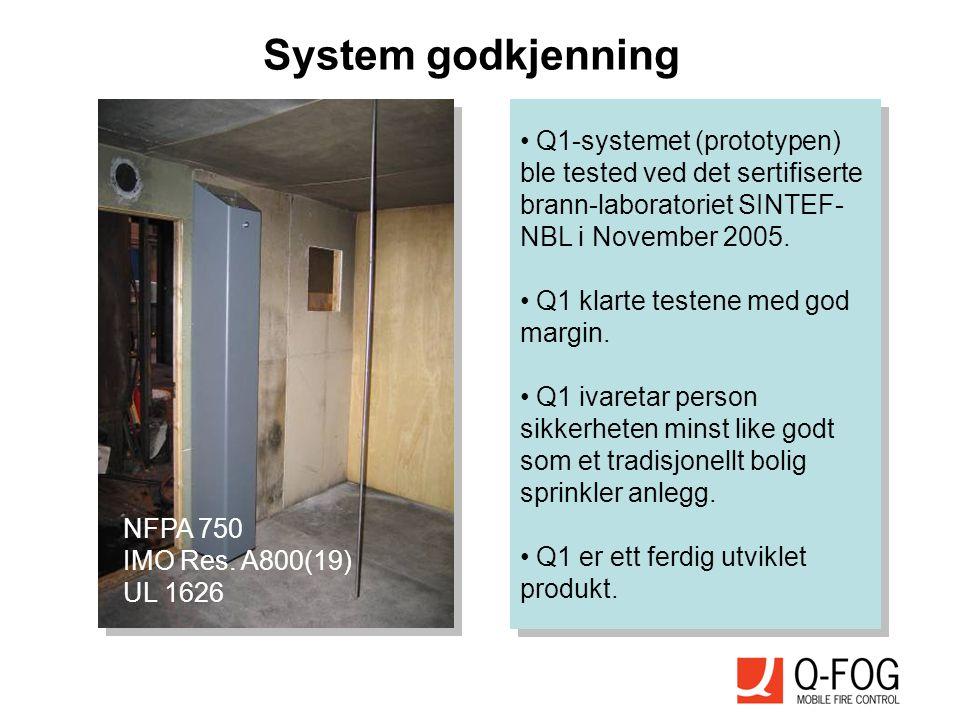 System godkjenning Q1-systemet (prototypen) ble tested ved det sertifiserte brann-laboratoriet SINTEF-NBL i November 2005.