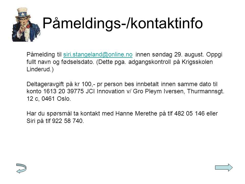 Påmeldings-/kontaktinfo