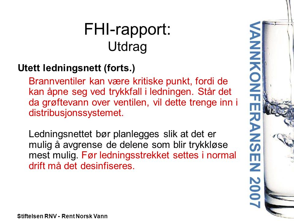 FHI-rapport: Utdrag Utett ledningsnett (forts.)