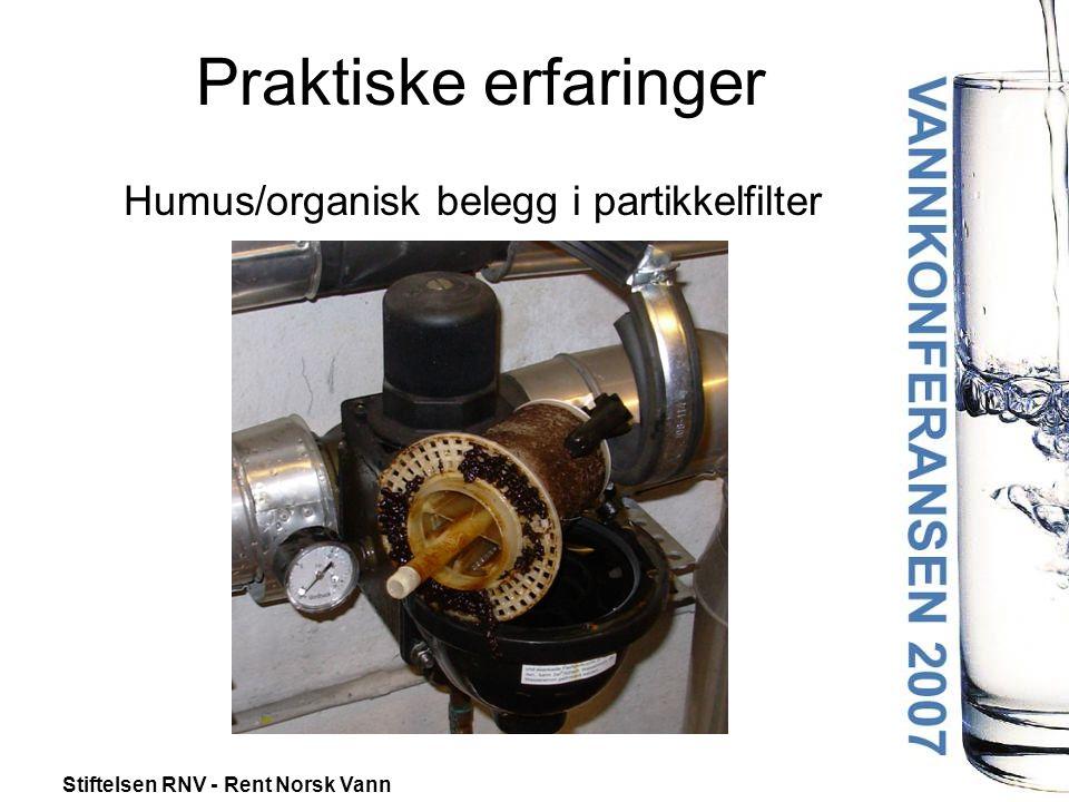 Humus/organisk belegg i partikkelfilter