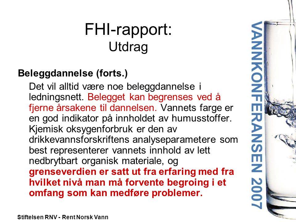 FHI-rapport: Utdrag Beleggdannelse (forts.)