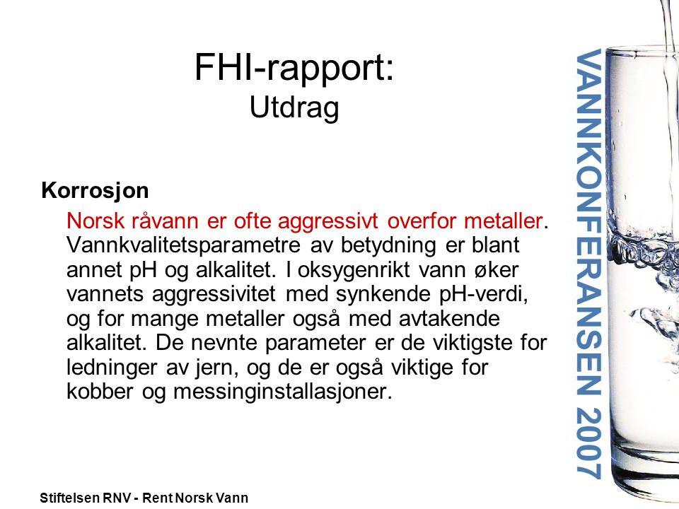 FHI-rapport: Utdrag Korrosjon