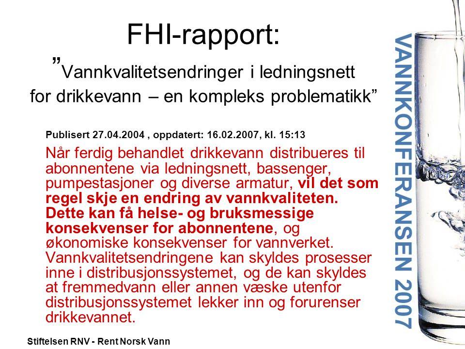 FHI-rapport: Vannkvalitetsendringer i ledningsnett for drikkevann – en kompleks problematikk