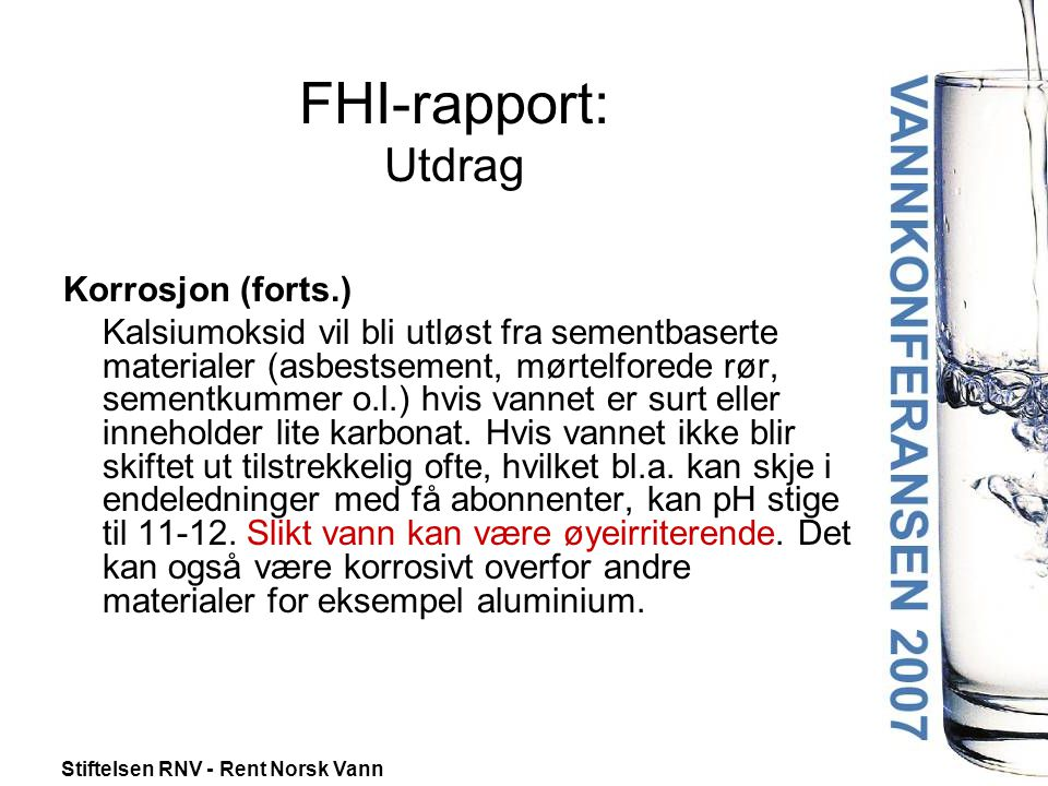 FHI-rapport: Utdrag Korrosjon (forts.)