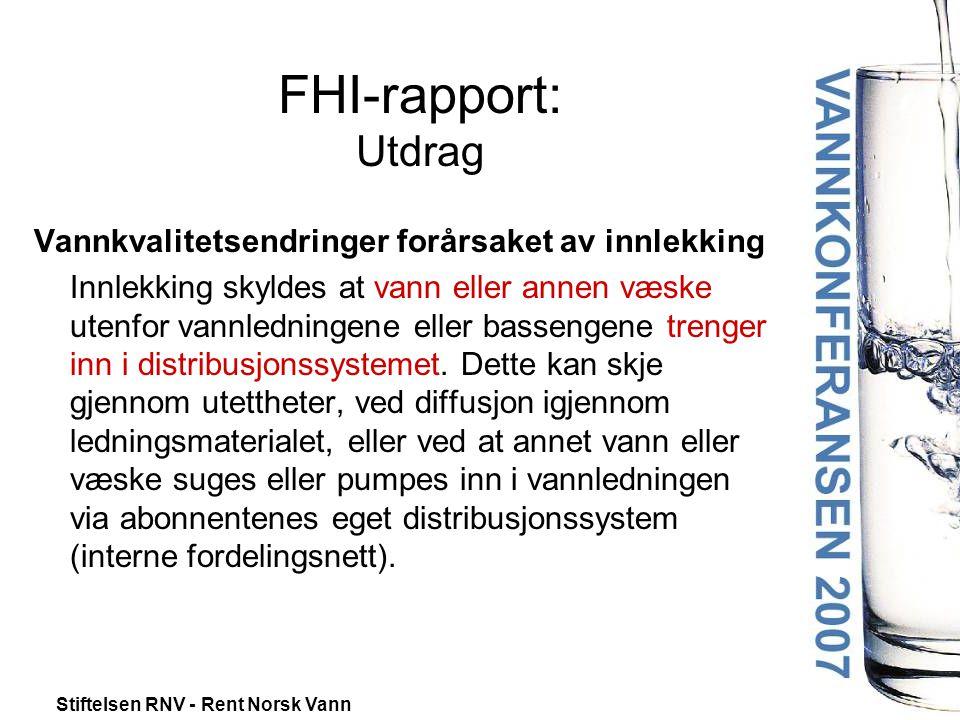 FHI-rapport: Utdrag Vannkvalitetsendringer forårsaket av innlekking