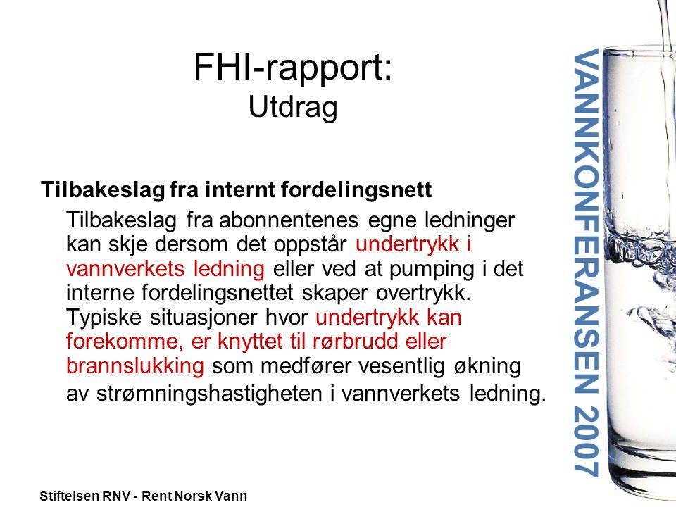 FHI-rapport: Utdrag Tilbakeslag fra internt fordelingsnett