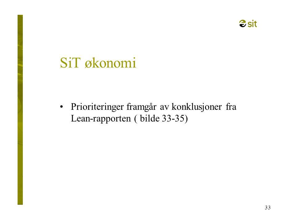 SiT økonomi Prioriteringer framgår av konklusjoner fra Lean-rapporten ( bilde 33-35)