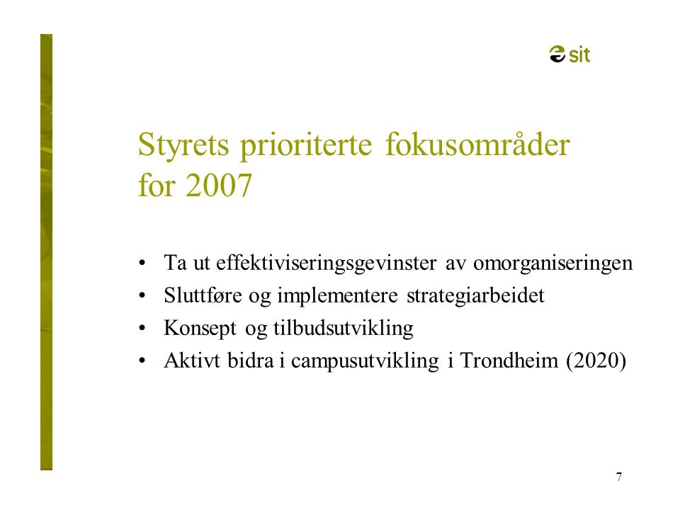 Styrets prioriterte fokusområder for 2007