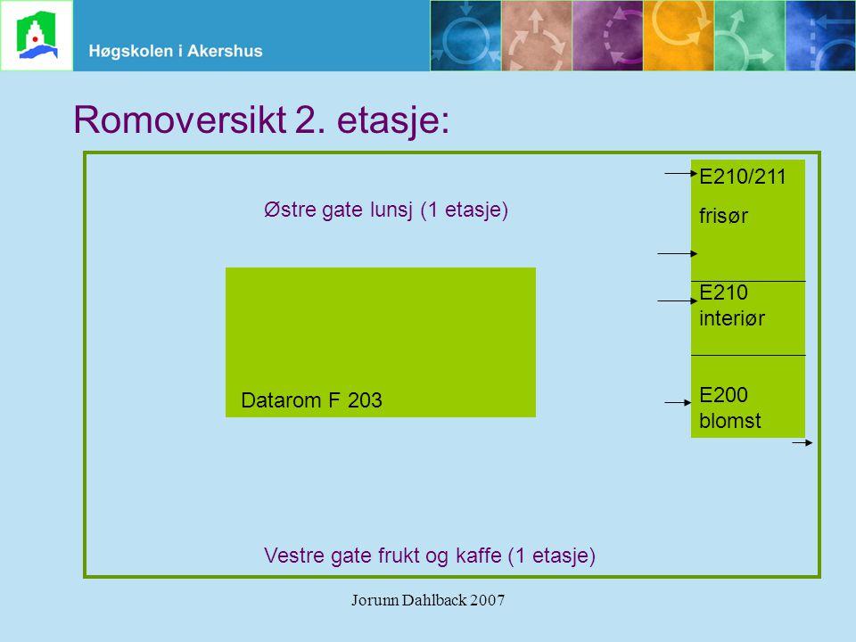 Romoversikt 2. etasje: E210/211 Østre gate lunsj (1 etasje) frisør