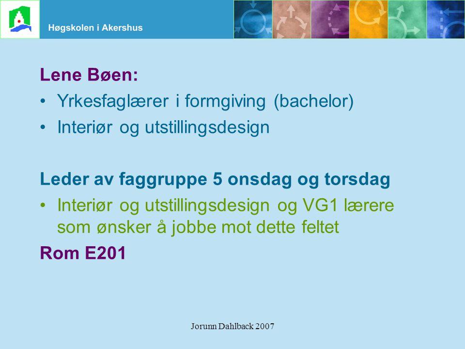 Yrkesfaglærer i formgiving (bachelor) Interiør og utstillingsdesign
