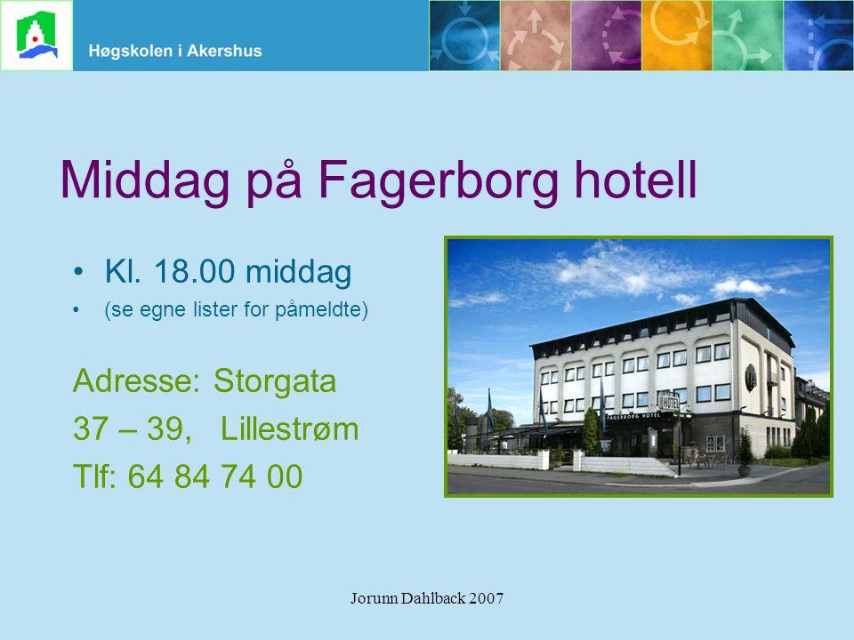 Middag på Fagerborg hotell