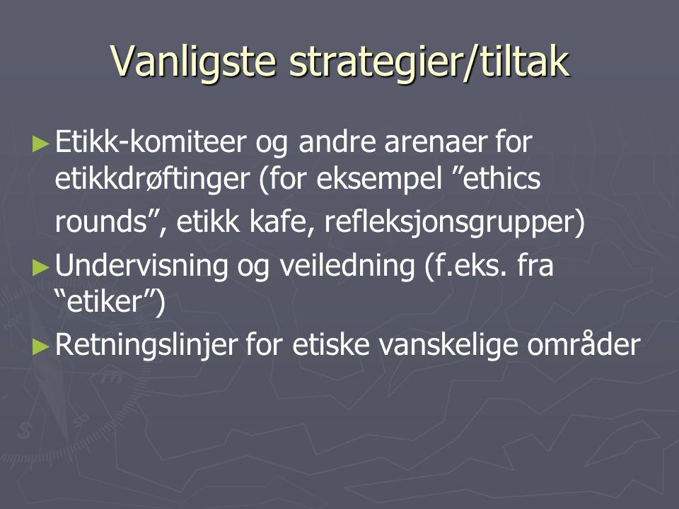 Vanligste strategier/tiltak