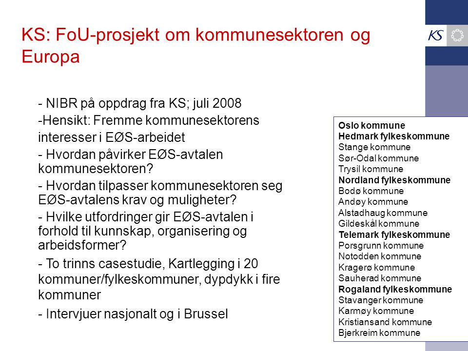 KS: FoU-prosjekt om kommunesektoren og Europa