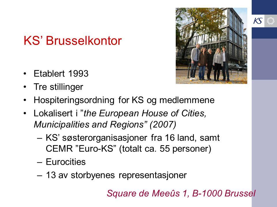KS' Brusselkontor Etablert 1993 Tre stillinger