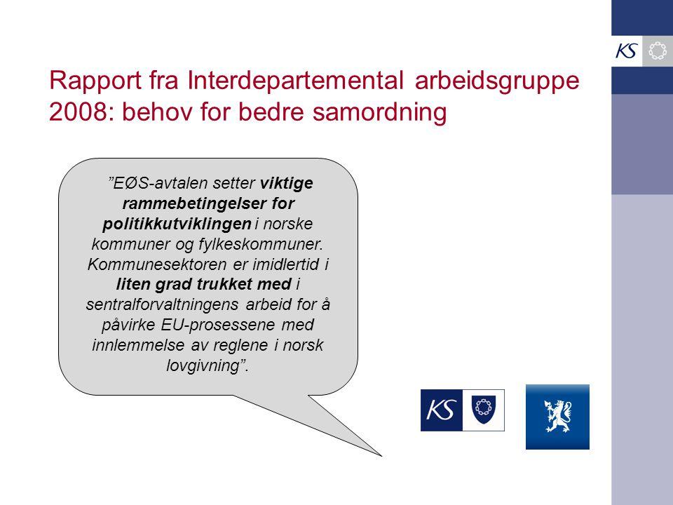 Rapport fra Interdepartemental arbeidsgruppe 2008: behov for bedre samordning