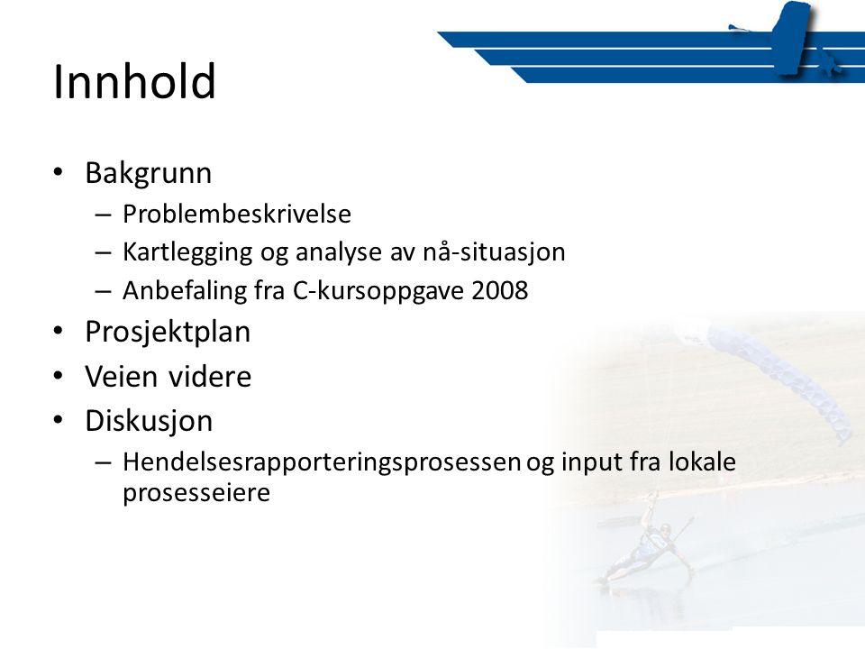 Innhold Bakgrunn Prosjektplan Veien videre Diskusjon