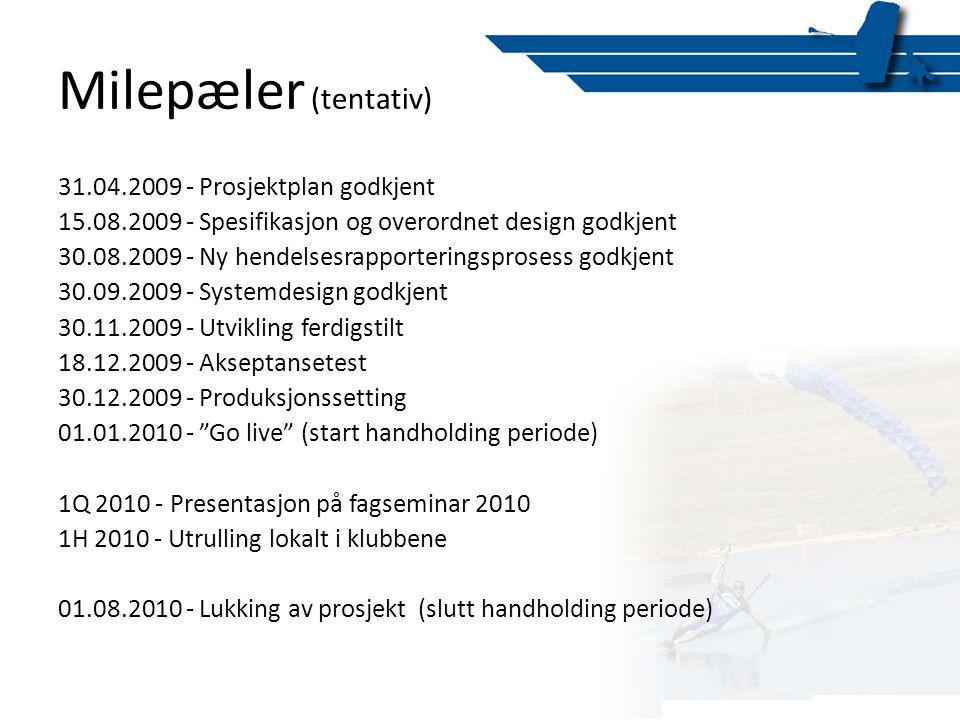 Milepæler (tentativ) 31.04.2009 - Prosjektplan godkjent