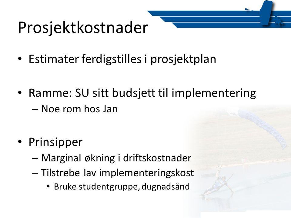 Prosjektkostnader Estimater ferdigstilles i prosjektplan