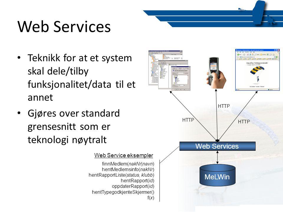 Web Services Teknikk for at et system skal dele/tilby funksjonalitet/data til et annet. Gjøres over standard grensesnitt som er teknologi nøytralt.