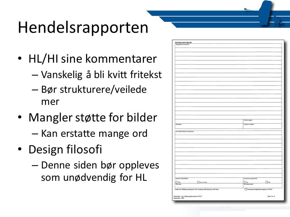 Hendelsrapporten HL/HI sine kommentarer Mangler støtte for bilder