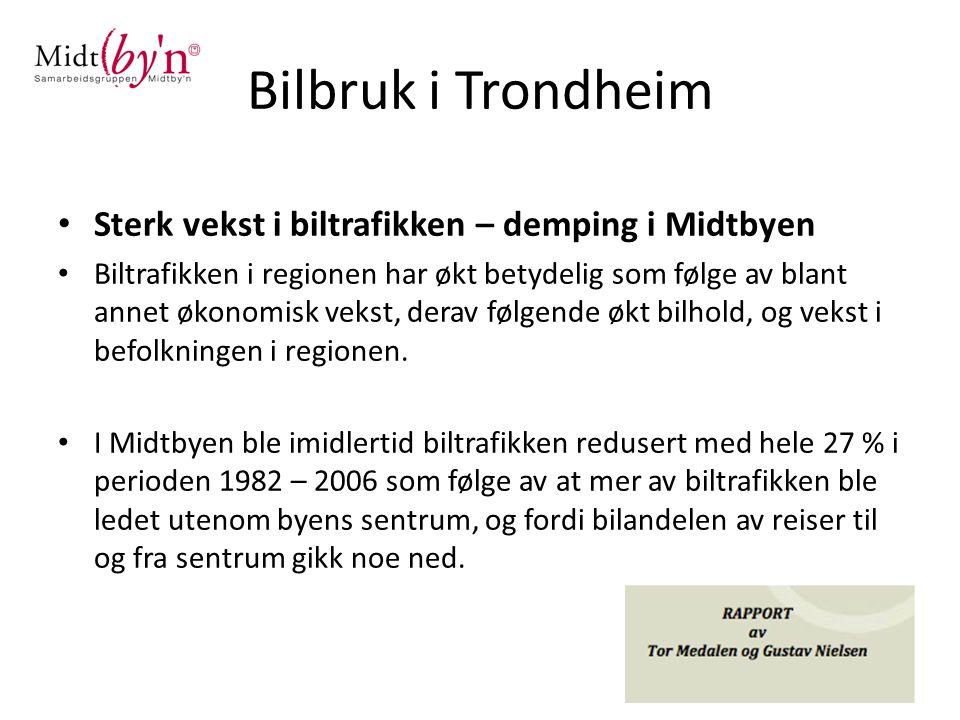 Bilbruk i Trondheim Sterk vekst i biltrafikken – demping i Midtbyen