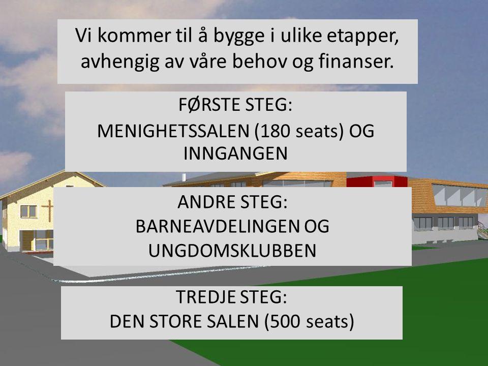 FØRSTE STEG: MENIGHETSSALEN (180 seats) OG INNGANGEN