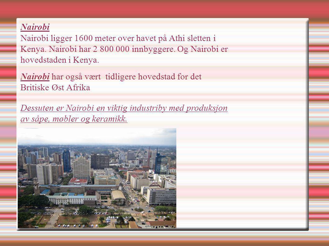 Nairobi Nairobi ligger 1600 meter over havet på Athi sletten i Kenya